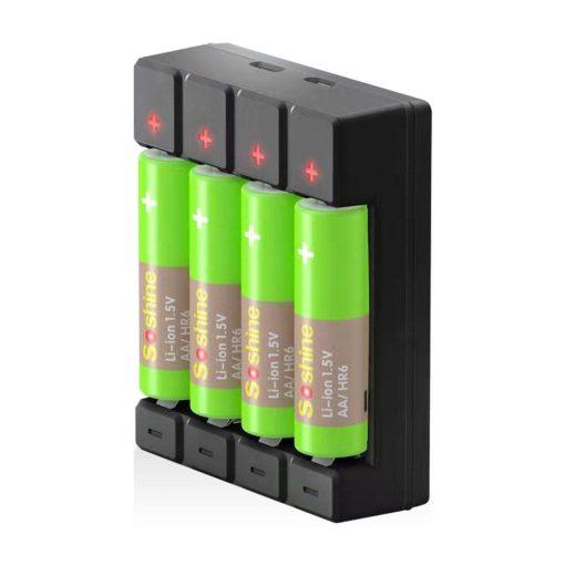 Soshine 1,5 V-os töltő AA és AAA akkumulátorokhoz