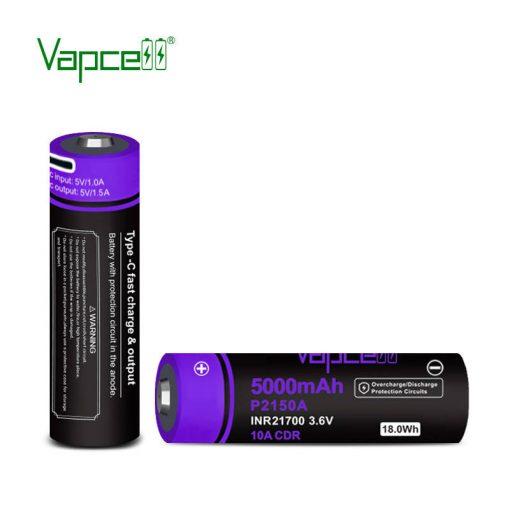 Vapcell P2150A 21700 5000Mah 10A védett USB-ről tölthető akkumulátor